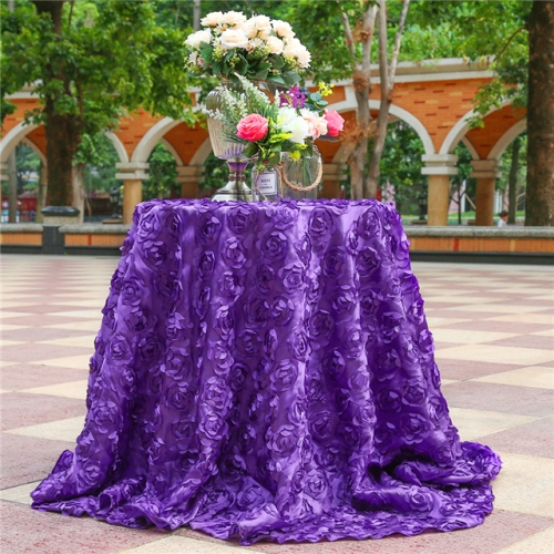 "Rosette Tablecloth Purple 120""Round"
