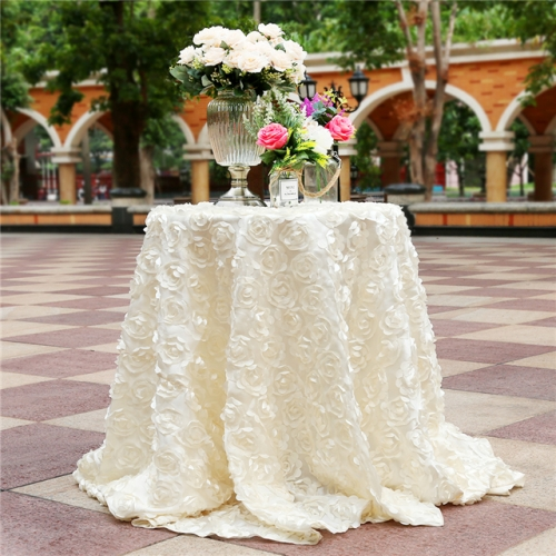 "Rosette Tablecloth Ivory 120""Round"