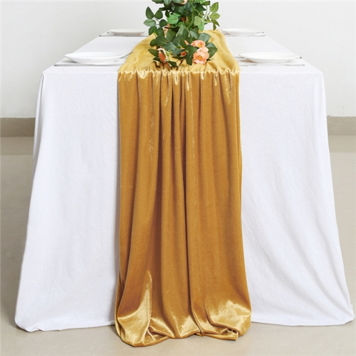 "29""x120""Gold Velvet Table Runner"
