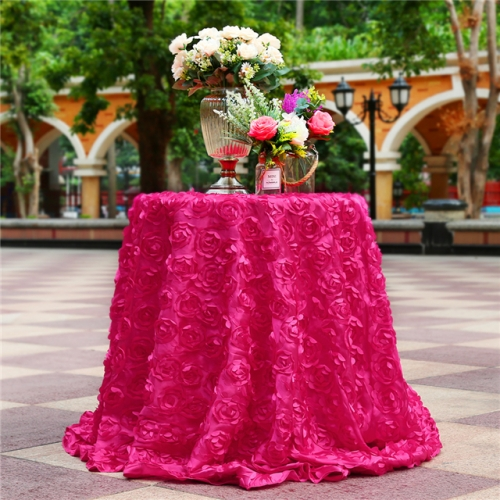 "Rosette Tablecloth Rose Red 120""Round"