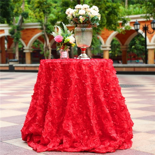 "Rosette Tablecloth Red 120""Round"