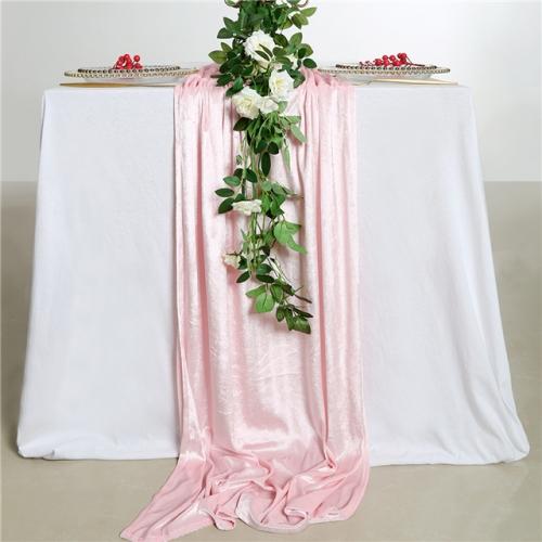 """29""""x120""""Light Pink Velvet Table Runner"""