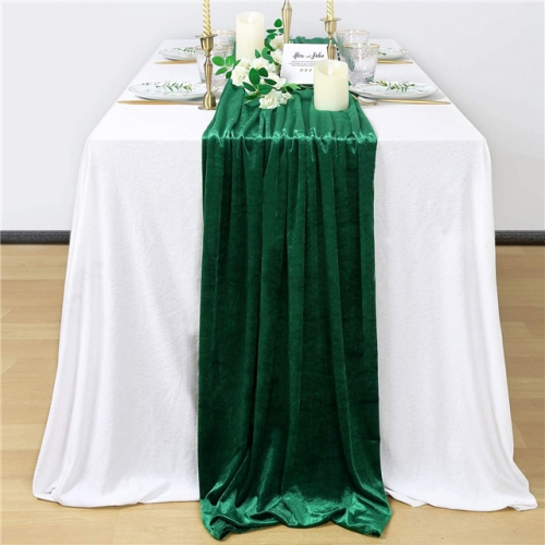 "29""x120""Green Velvet Table Runner"