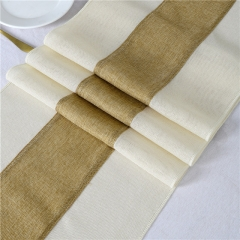 "14""x108"" Splicing Burlap Table Runner Light Colour Edge"