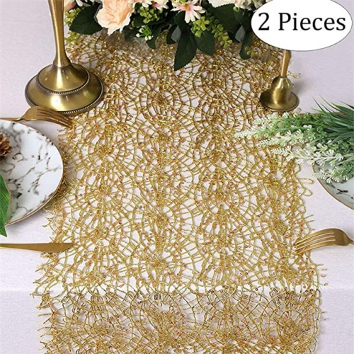 "2 Pieces 12""x108"" Sequin Mesh Table Runner Gold"