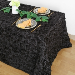 Rosette Tablecloth Black 90x132""