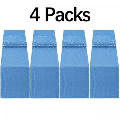 """4 Pack 12""""x108"""" Sequin Table Runner Light Blue"""