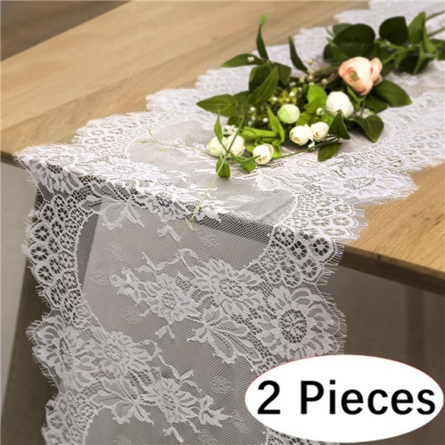 "2 Pieces 14""x120"" White Lace Table Runner"