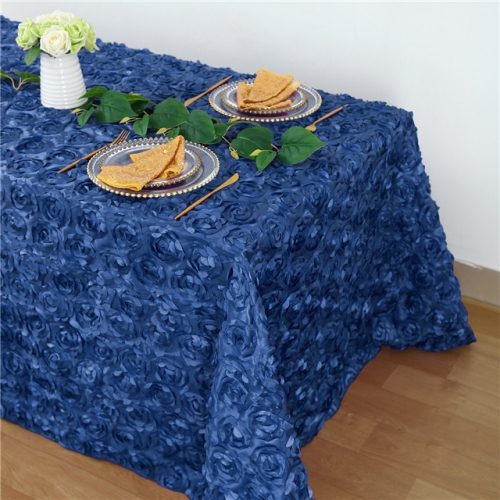 Rosette Tablecloth Navy 90x132""