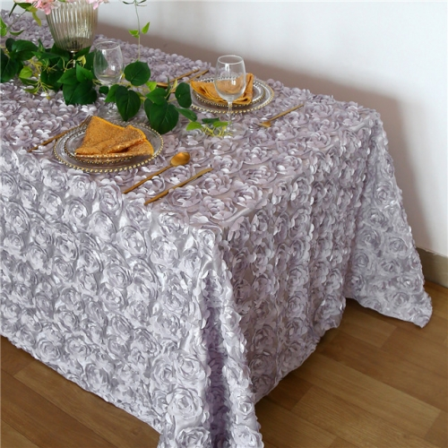 Rosette Tablecloth Silver 90x132""