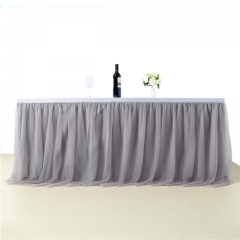 3 Yards Light Gray Table Skirt