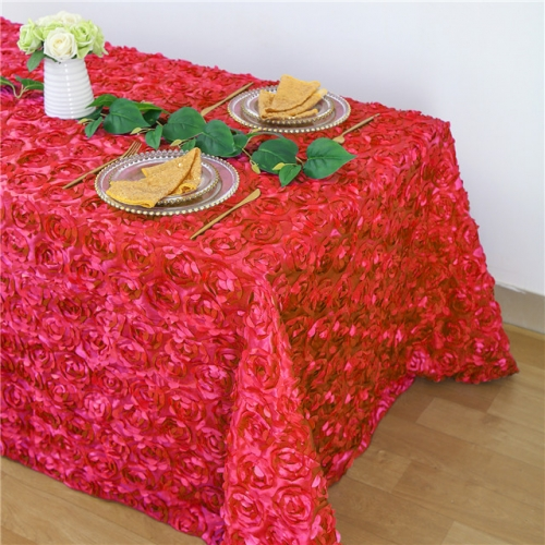 Rosette Tablecloth Red 90x132""