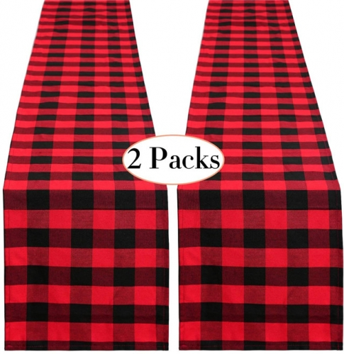 2 Pack Black and Red Buffalo Plaid Runner 13 x108 Inches