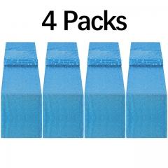 "4 Pack 12""x108"" Sequin Table Runner Aqua Blue"