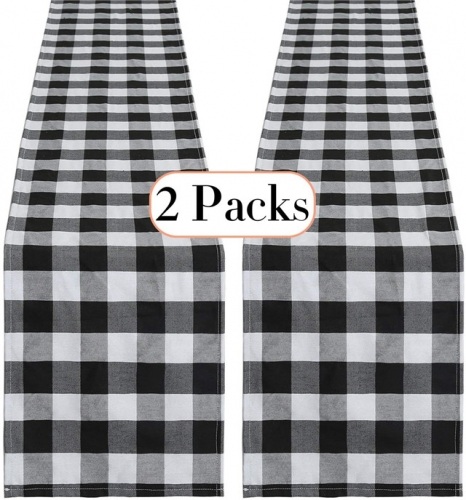 2 Pack Black and White Buffalo Plaid Runner 13 x108 Inches