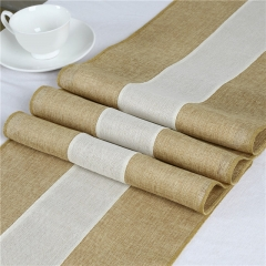 "14""x108"" Splicing Burlap Table Runner Natural Colour Edge"