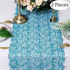 "2 Pieces 12""x108"" Sequin Mesh Table Runner Aqua Blue"