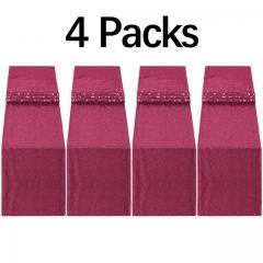 """4 Pack 12""""x108"""" Sequin Table Runner Burgundy"""