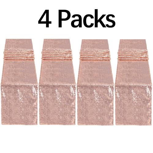 """4 Pack 12""""x108"""" Sequin Table Runner Rose Gold"""