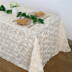Rosette Tablecloth Ivory 90x132""