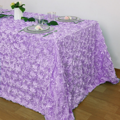 Rosette Tablecloth Lavender 90x132""