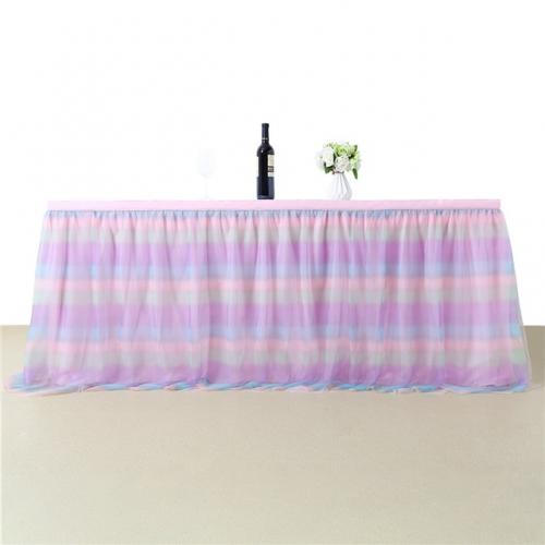 3 Yards Rainbow Pink Table Skirt