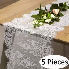"5 Pieces 14""x120"" White Lace Table Runner"