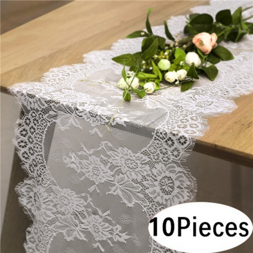"10 Pieces 14""x120"" White Lace Table Runner"