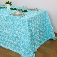 Rosette Tablecloth Baby Blue 90x132""