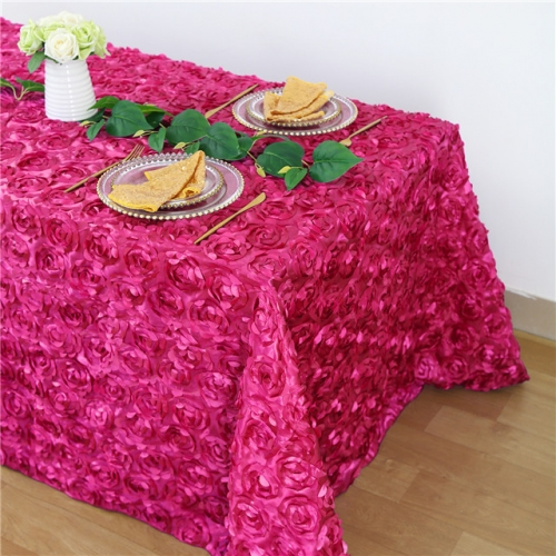 Rosette Tablecloth Rose Red 90x132""