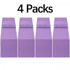 """4 Pack 12""""x108"""" Sequin Table Runner Light Purple"""