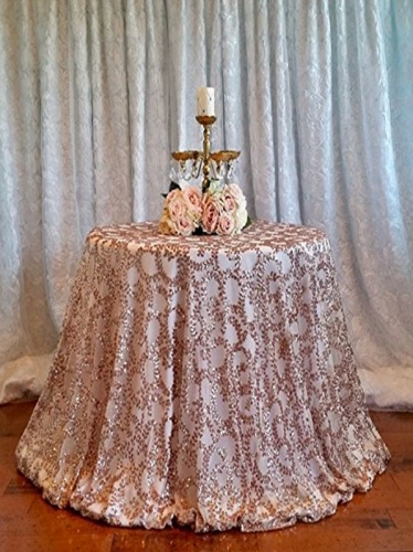 "Sequin Tablecloth 90""RoseGold Flower"