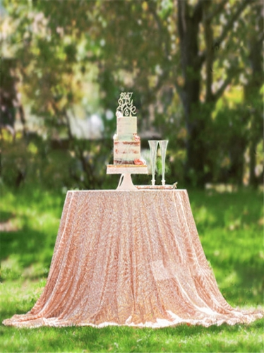 "Sequin Tablecloth 90""Geometeic RoseGold"