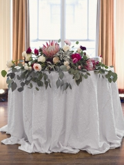 """Sequin Tablecloth 120""""White"""