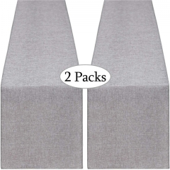 2 Pieces 14x108 Inch Burlap Table Runner Gray