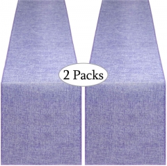 2 Pieces 14x108 Inch Burlap Table Runner Lavender