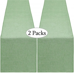 2 Pieces 14x108 Inch Burlap Table Runner Light Green