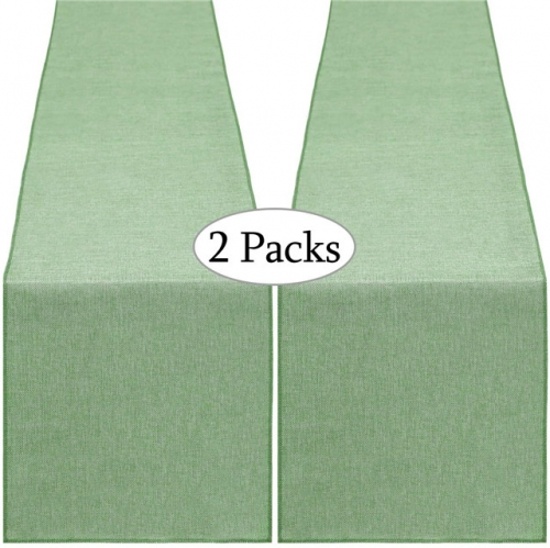2 Pieces 14x108 Inch Burlap Table Runner Light Green