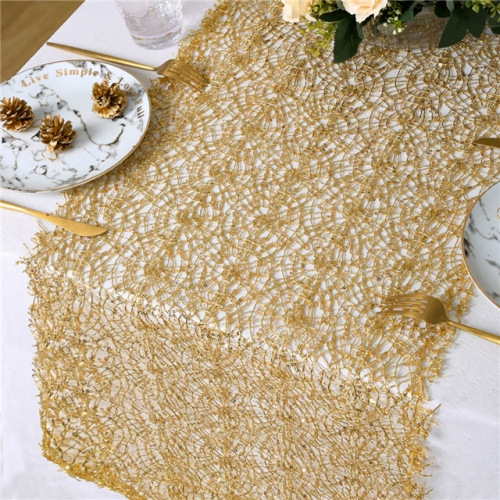 "16""x120"" Sequin Mesh Table Runner Gold"
