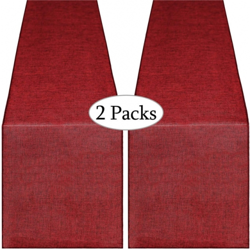2 Pieces 13x108 Inch Burlap Table Runner Burgundy