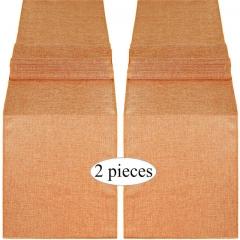 2 Pieces 14x108 Inch Burlap Table Runner Pumpkin