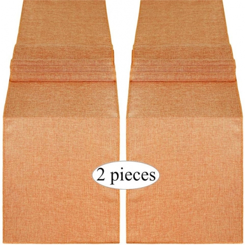 2 Pieces 13x108 Inch Burlap Table Runner Pumpkin