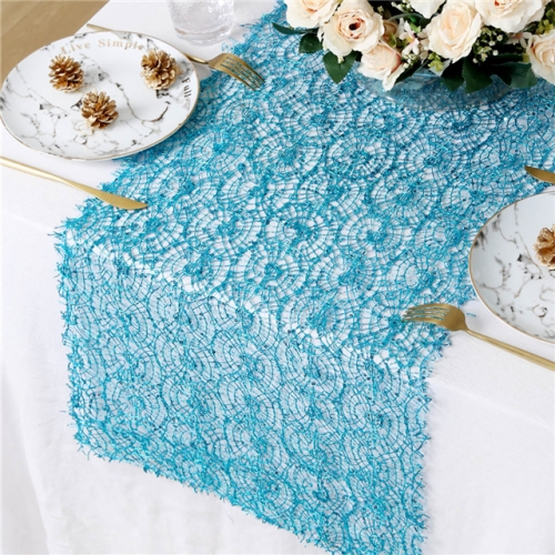 "16""x120"" Sequin Mesh Table Runner Aqua Blue"