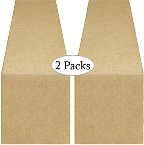 2 Pieces 13x108 Inch Burlap Table Runner Khaki