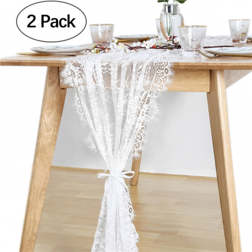 "2 Pieces 30""x120"" White Lace Table Runner"