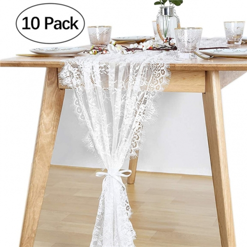 "10 Pieces 30""x120"" White Lace Table Runner"