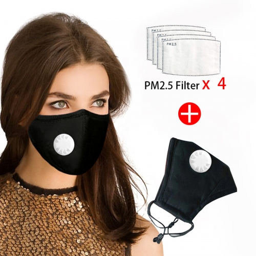 Reusable Face Mask 4 Pcs Filter Protective Breathable Anti Pollution PM 2.5
