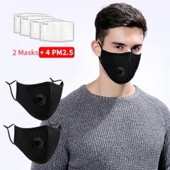 2PCS Pollution Masks Face Mask Anti-Dust  Mask PM2.5 Mouth Mask With Filters Reusable