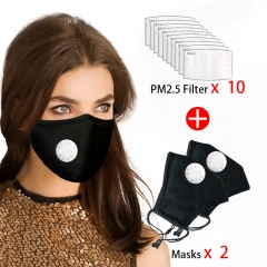 2 Pcs Reusable Face Mask 10 Pcs Filter Protective Breathable Anti Pollution PM 2.5