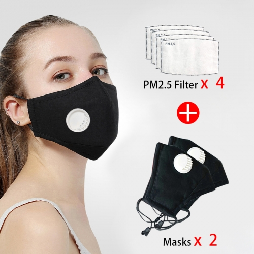 2 Pcs Reusable Face Mask 4 Pcs Filter Protective Breathable Anti Pollution PM 2.5